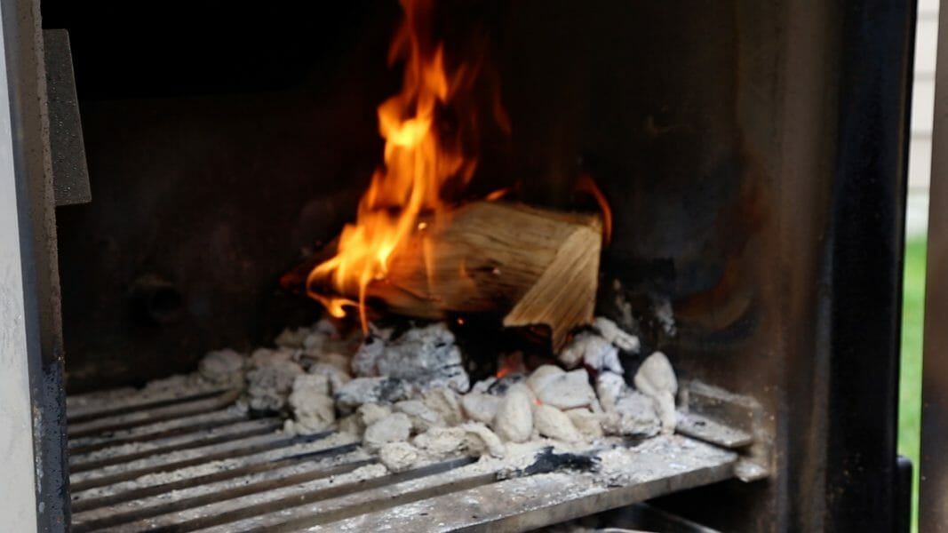 adding cherry wood splits to the firebox