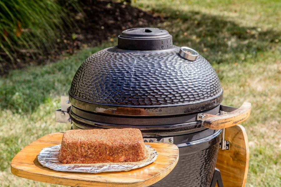 kamado grill and smoked meatloaf