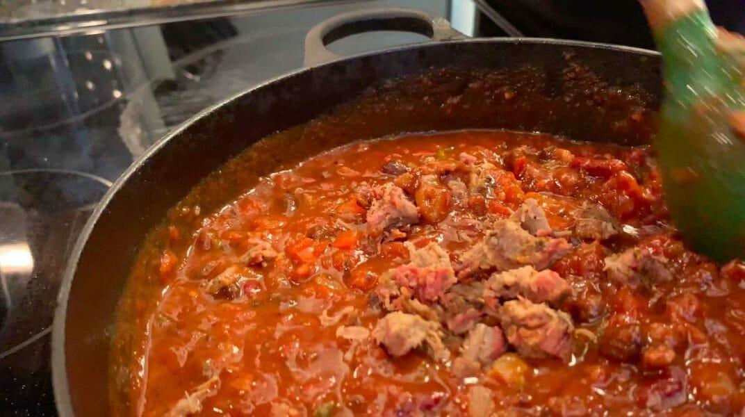 adding brisket to chili