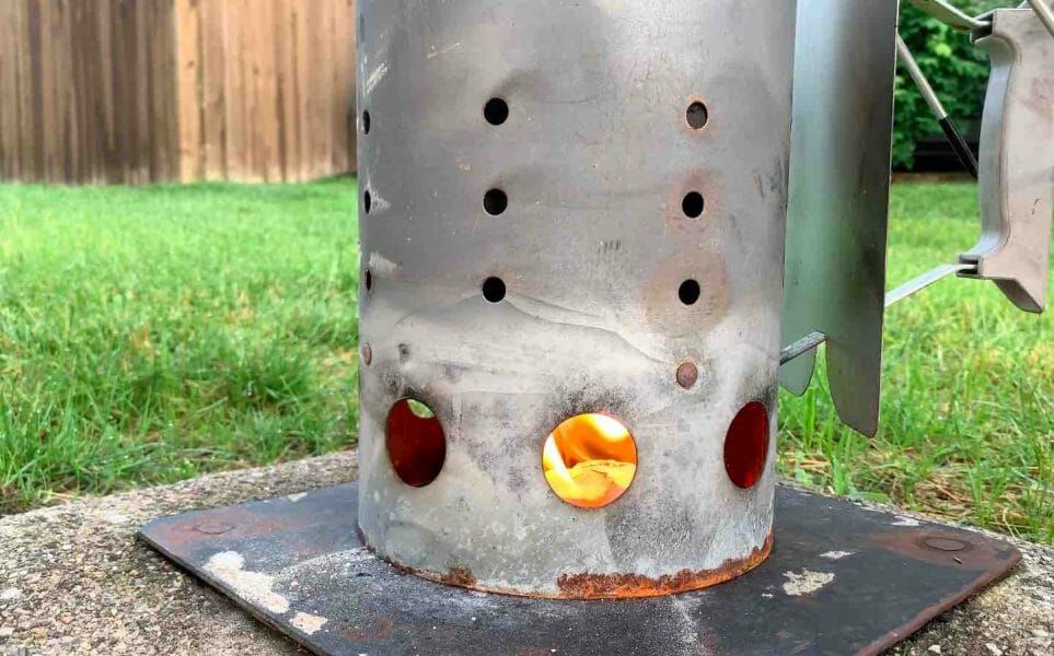 charcoal chimney full of hot coals