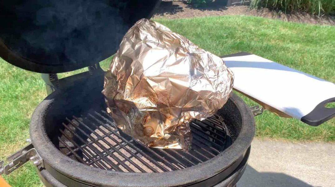 foil wrapped bologna on grill