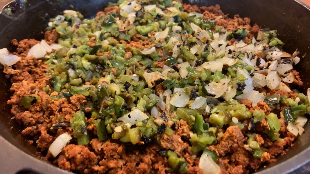 chorizo with chopped vegetables