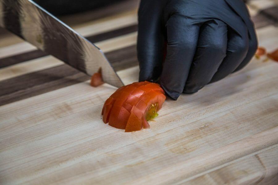dicing a roma tomato