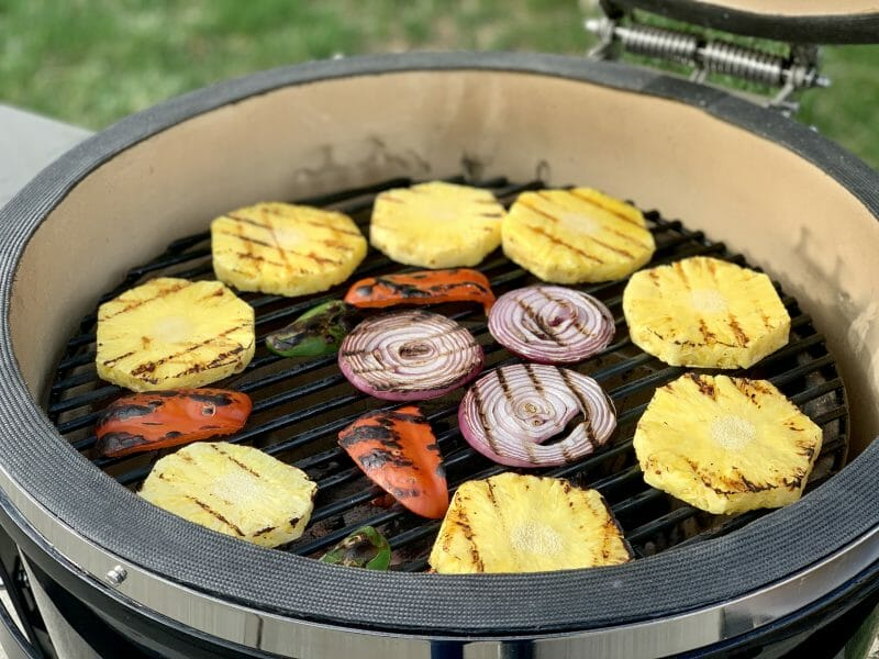 grilling fruits and veggies for pineapple salsa