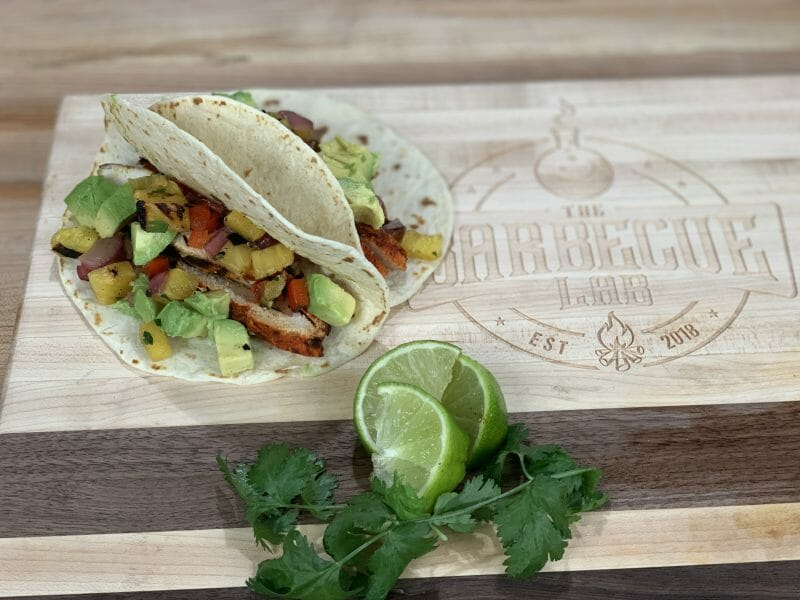 achiote chicken tacos with grilled pineapple salsa