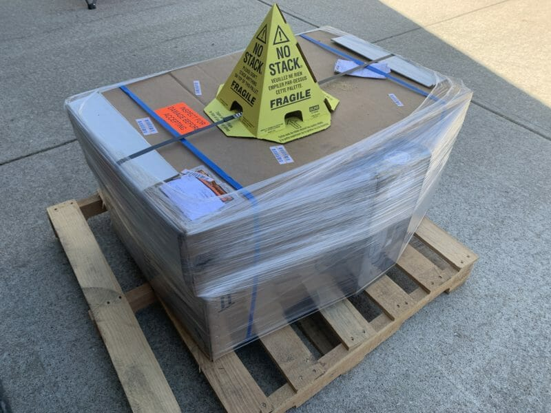 shipping pallet holding the boxed Le Griddle