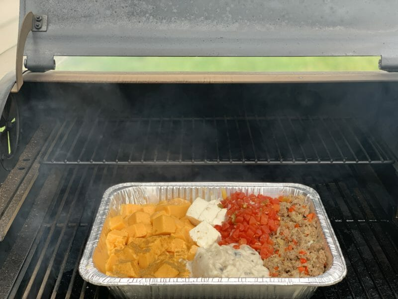 smoked queso on the smoker