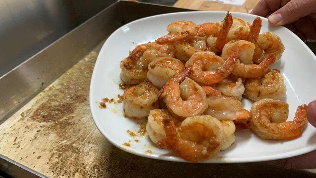 a plate of shrimp fresh off the Wee Griddle