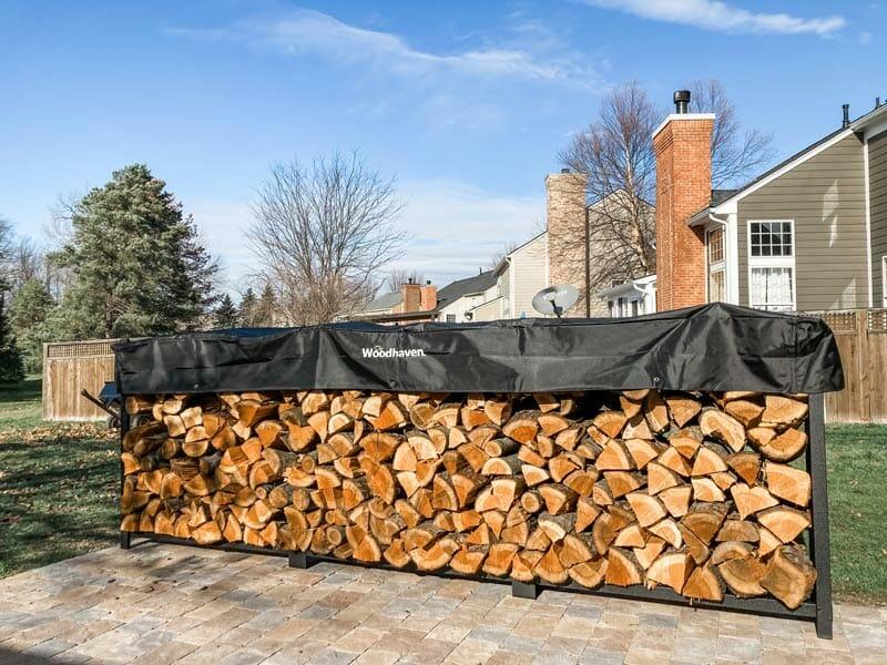 firewood on a wood rack