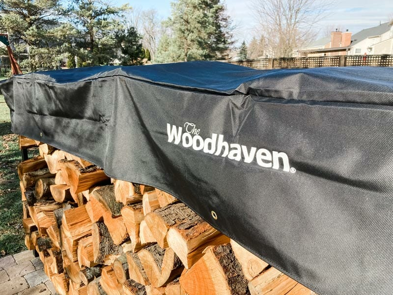 the short cover of the Woodhaven firewood rack