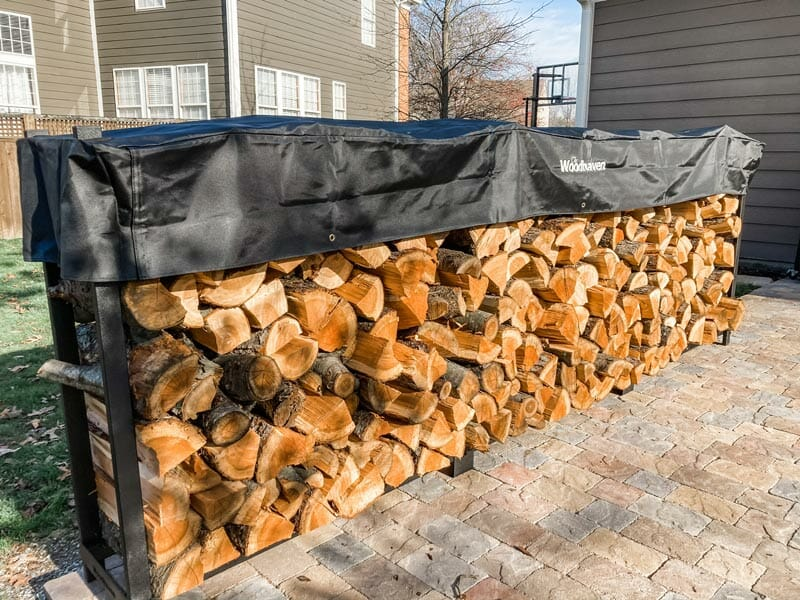12 foot Woodhaven firewood rack loaded up with 3/4 cord of cherry wood