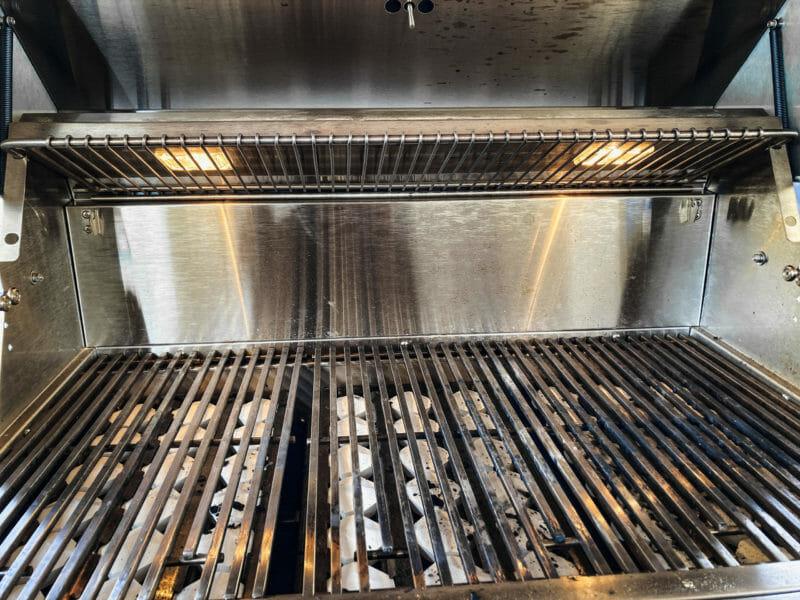 warming rack in storage position