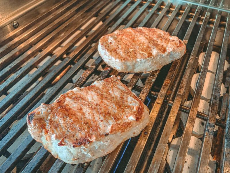 pork chops grilling on the ARG36