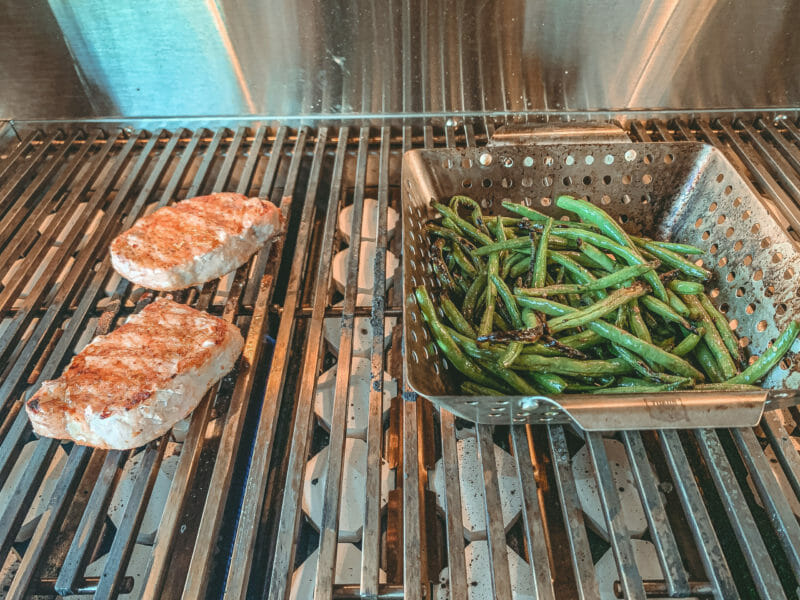 pork chops and green beans cooking on the ARG36