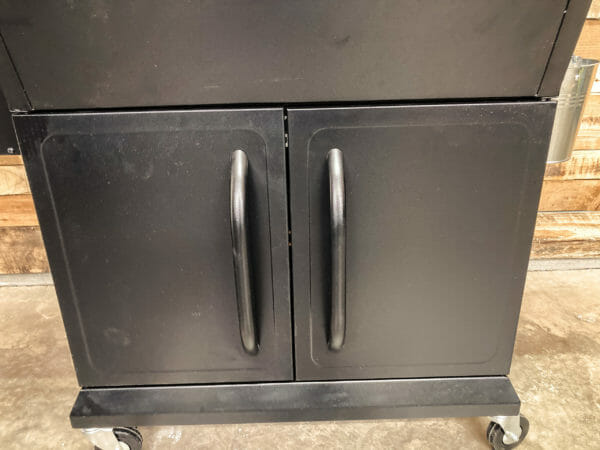Z Grills 1000E storage cabinet doors closed