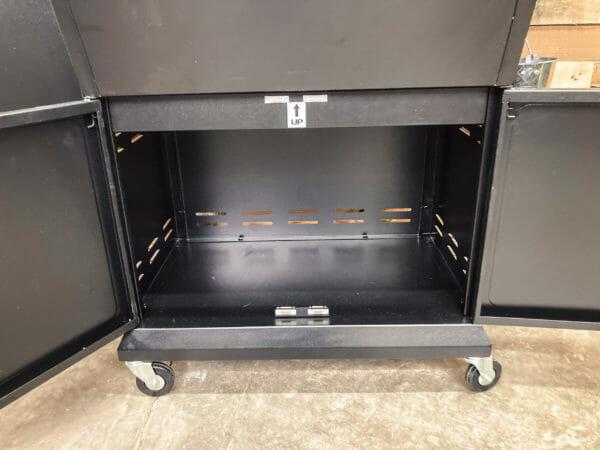 Z Grills 1000E storage cabinet doors open