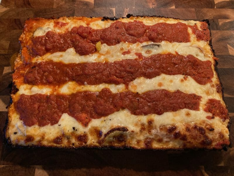 detroit style pizza after grilling on the Memphis Pro