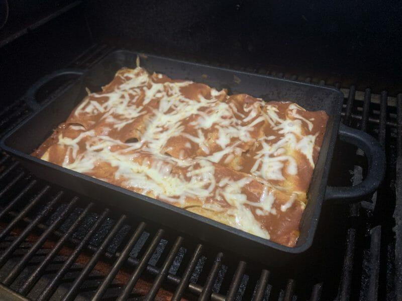 smoked brisket enchiladas cooking on the Memphis Pro