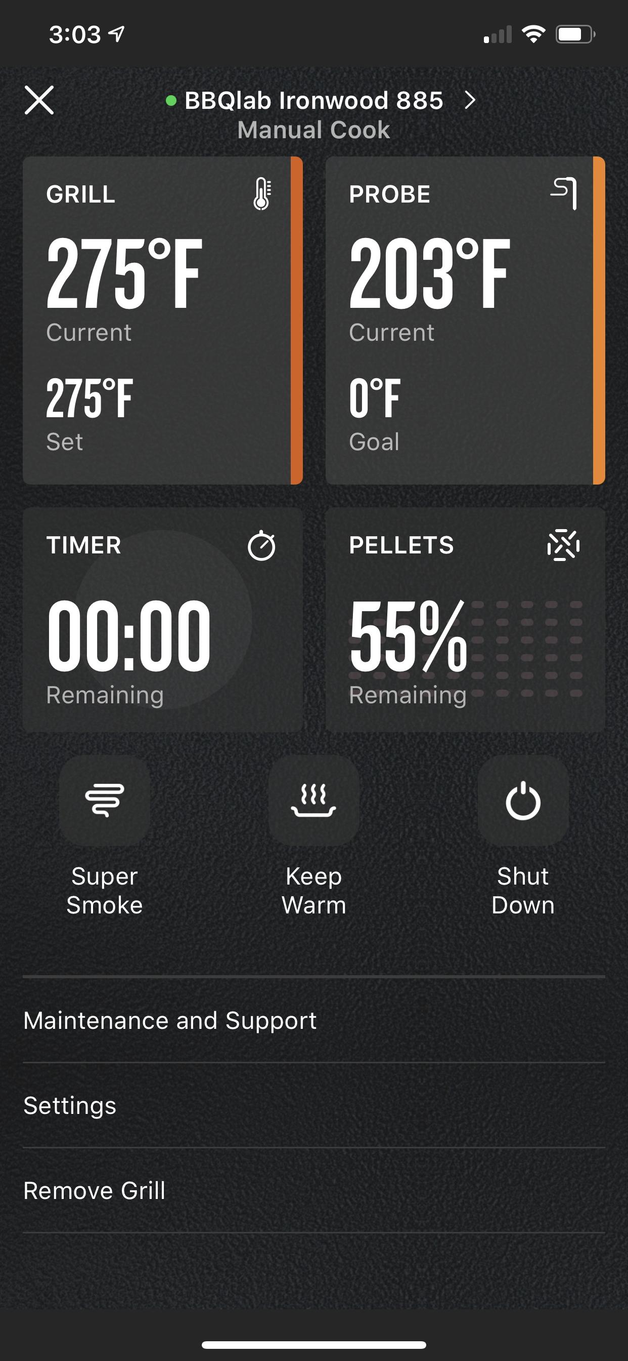Traeger app showing percent of pellets remaining