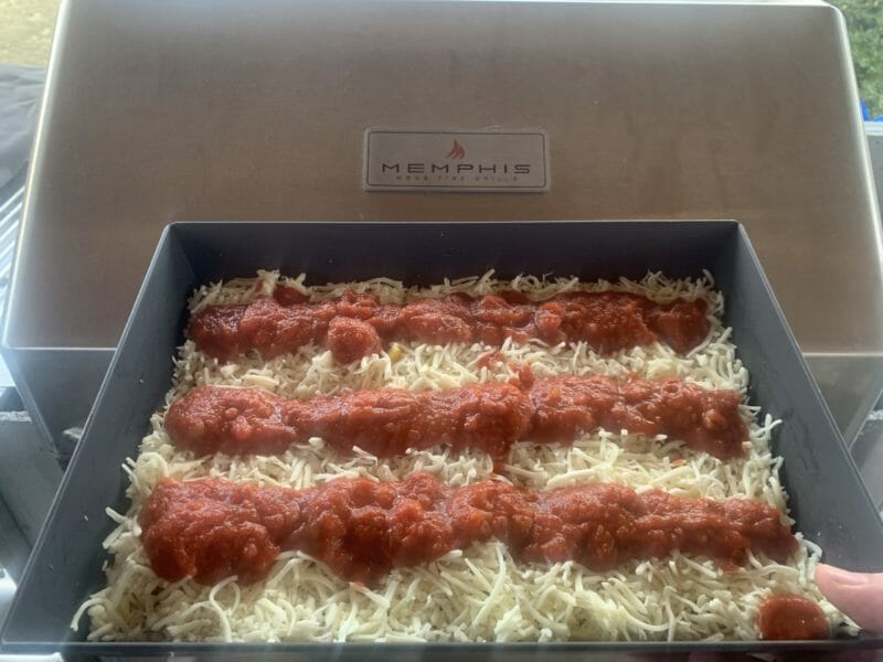 Detroit style pizza before going in the Memphis Pro