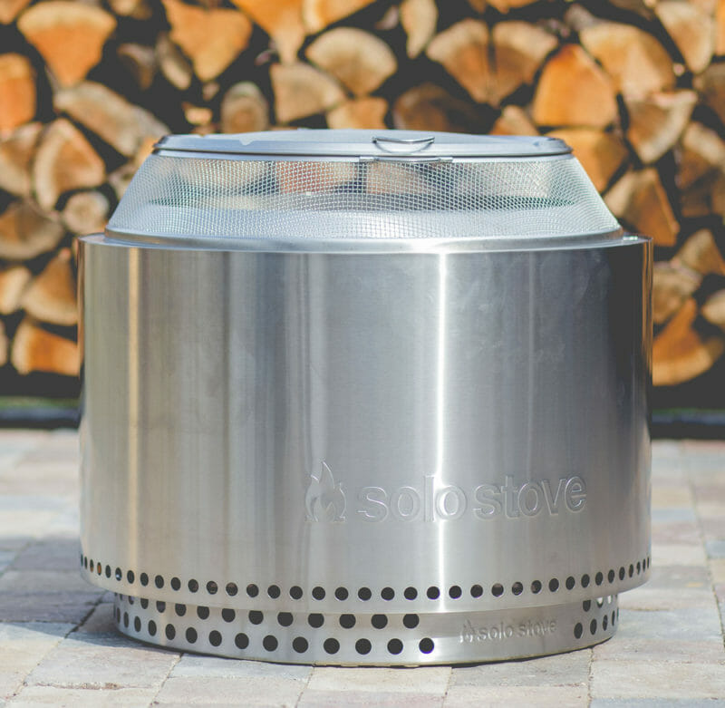 the stand allows the firepit to burn safely on patios and decks