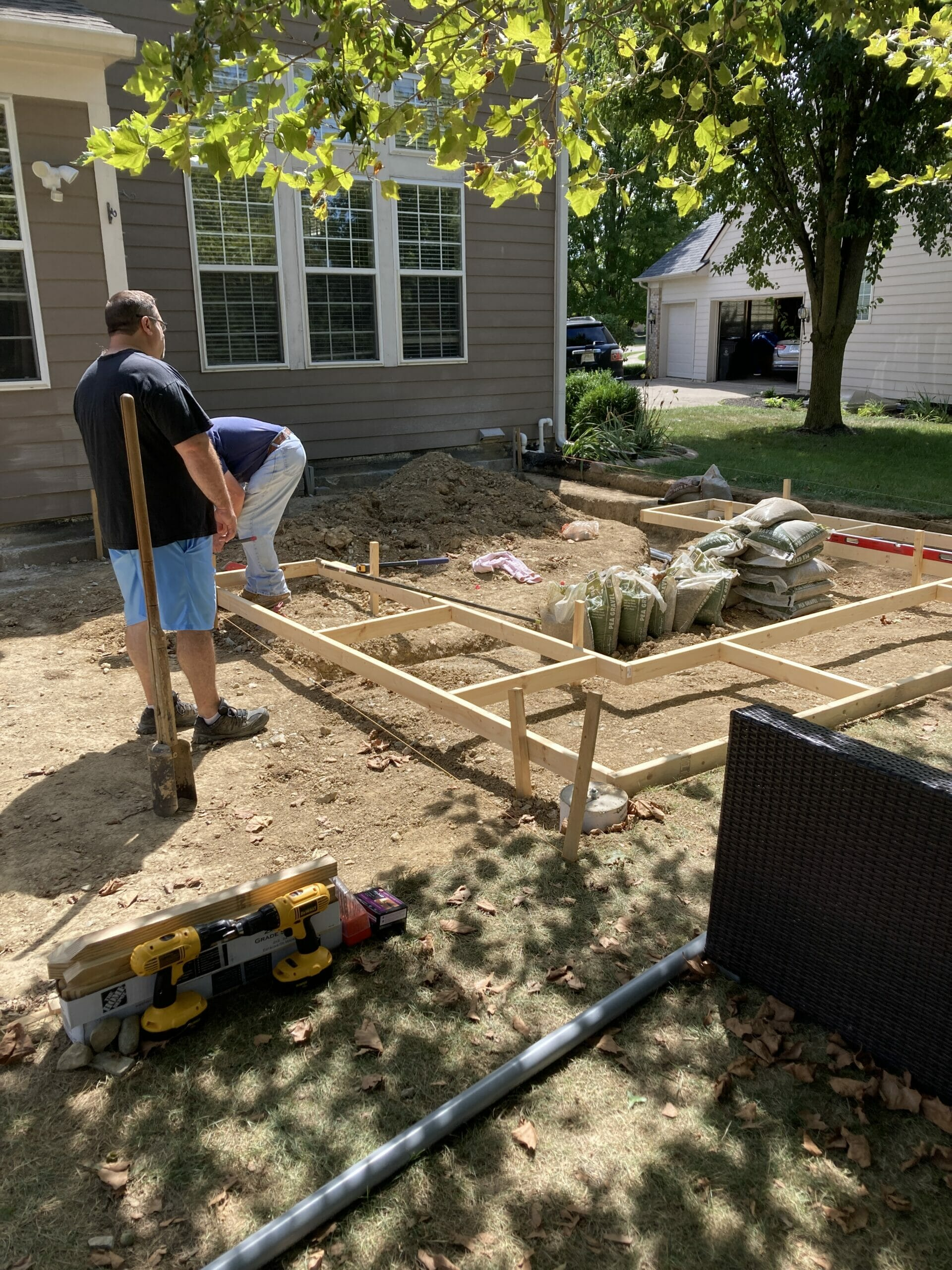 wood frame for the kitchen concrete pad