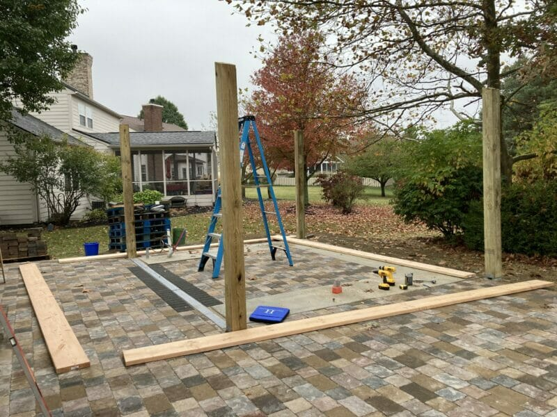 4 6x6 posts in place