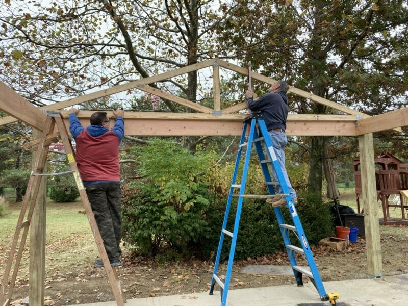 putting the first of the pre-built trusses in place