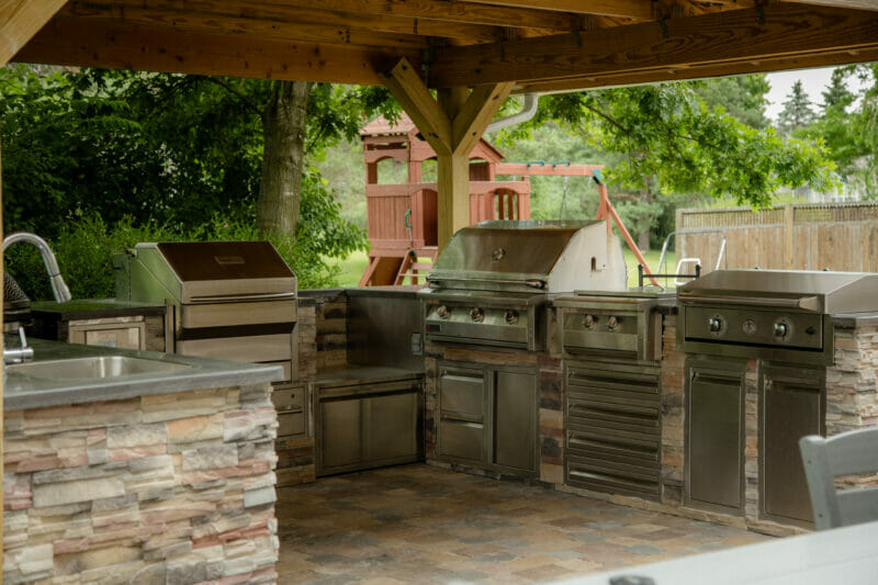 interior side view of our outdoor kitchen
