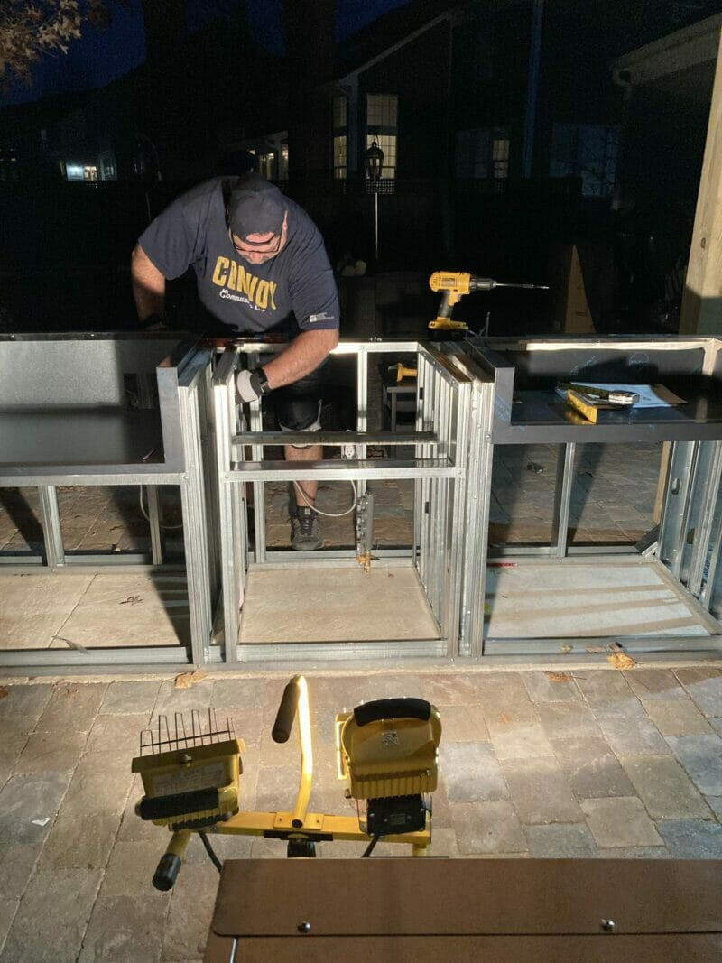 framing the outdoor kitchen