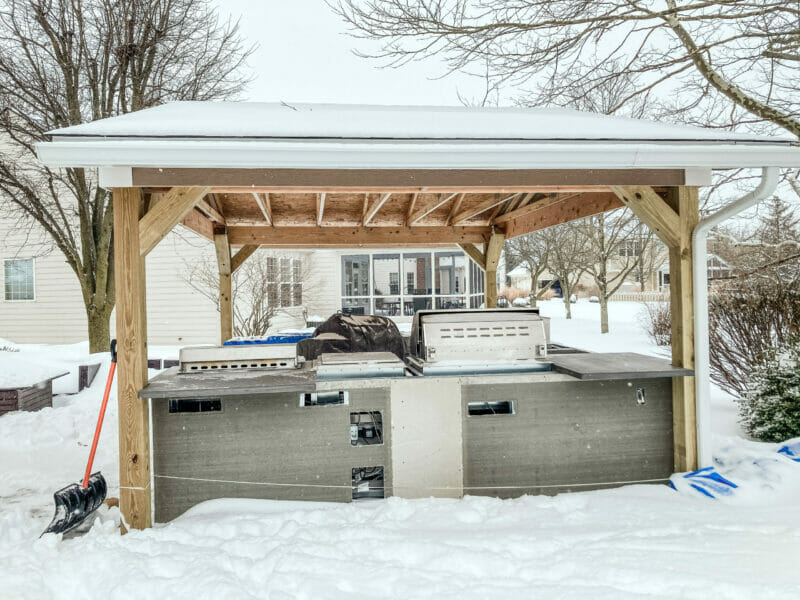 construction of outdoor kitchen halted by winter weather