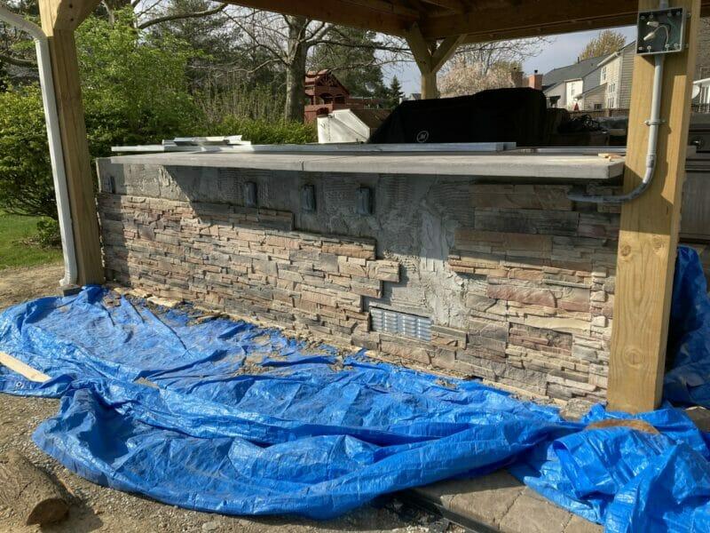 putting up the stone veneer