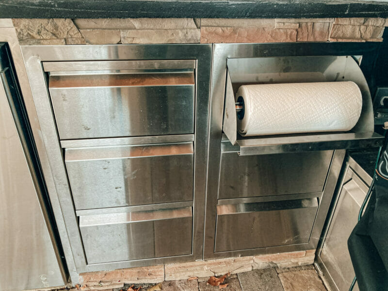 double drawer and paper towel holder and triple drawer