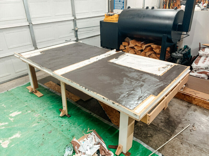 2 countertop sections curing in the melamine form