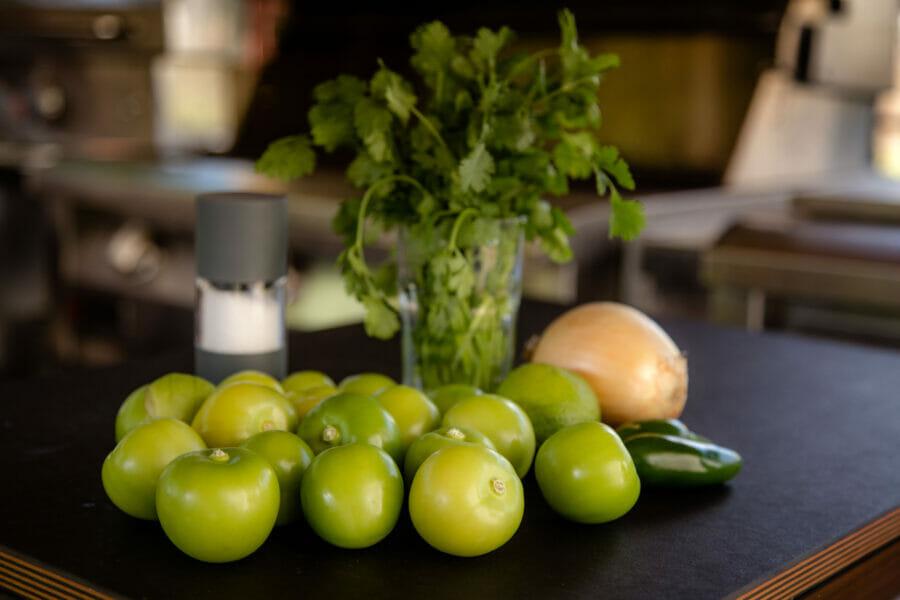 tomatillos, jalapeno pepper, onion, fresh cilantro, salt
